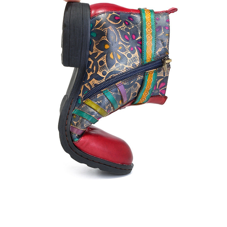 Red Casual vintage ethnic style leather boots - Zebrant