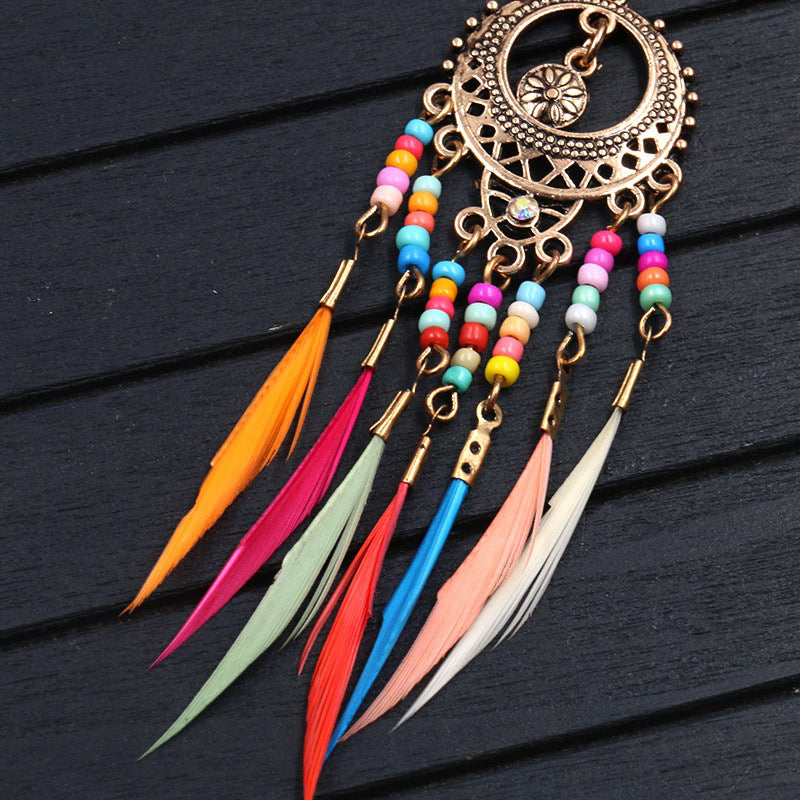 Round cutout beautiful bohemian fashion feather tassel  Earrings Wholesale - Zebrant