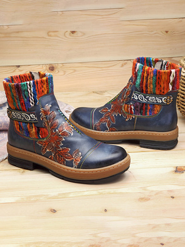 Fashion Handmade Leather Crafting Boots - Zebrant