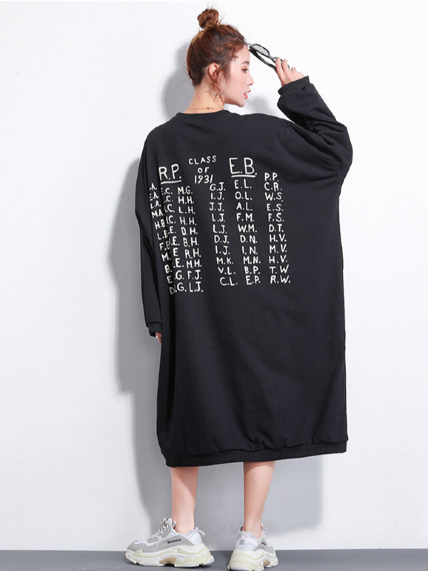 Loose Printed Sweatshirt Dress - Zebrant