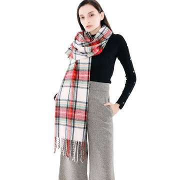 Couple thick warm wool cashmere plaid shawl scarf - Zebrant