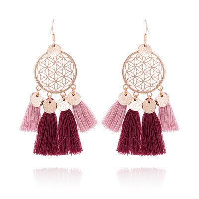 Hot tassel fashion gold round hollow Bohemian jewelry Earrings Wholesale - Zebrant