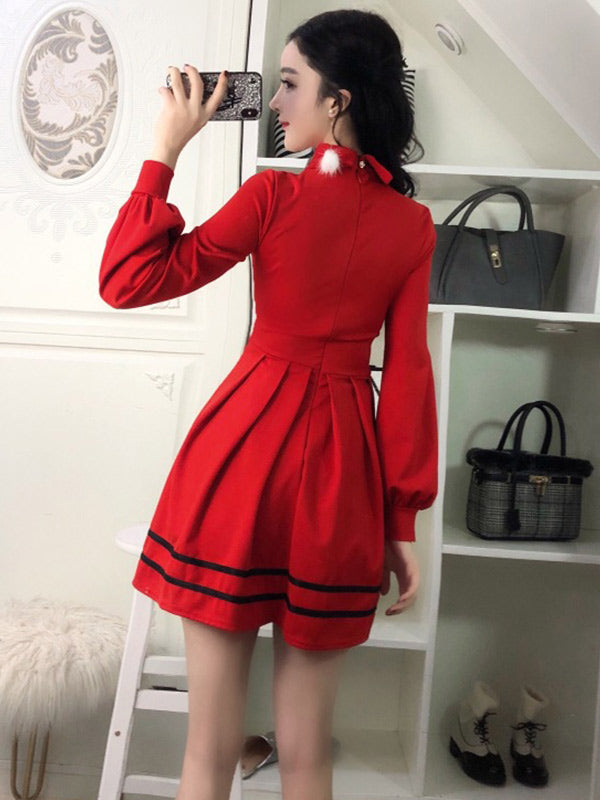 Sexy Long Sleeve Waist Pleated Lapel Dress - Zebrant