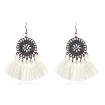 Fashion exaggerated tassel round bohemian vintage alloy earrings - Zebrant