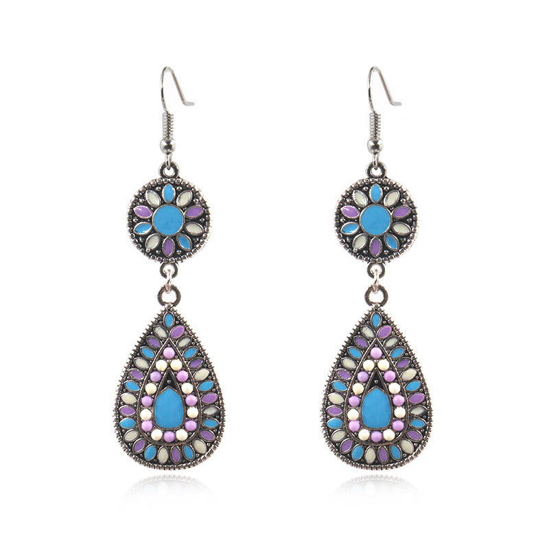 6 color Bohemian ethnic fashion drop-shaped alloy pendant earrings - Zebrant