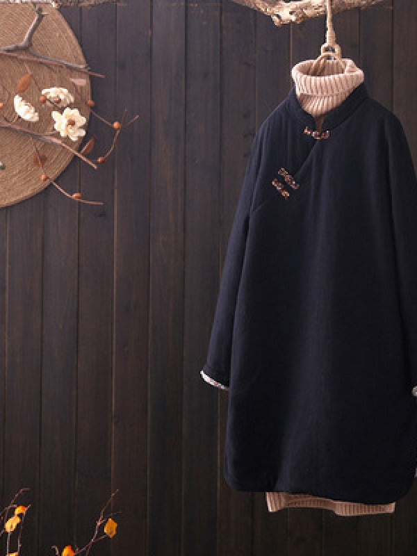 Vintage Slanting Buckle Long Cotton Coat - Zebrant