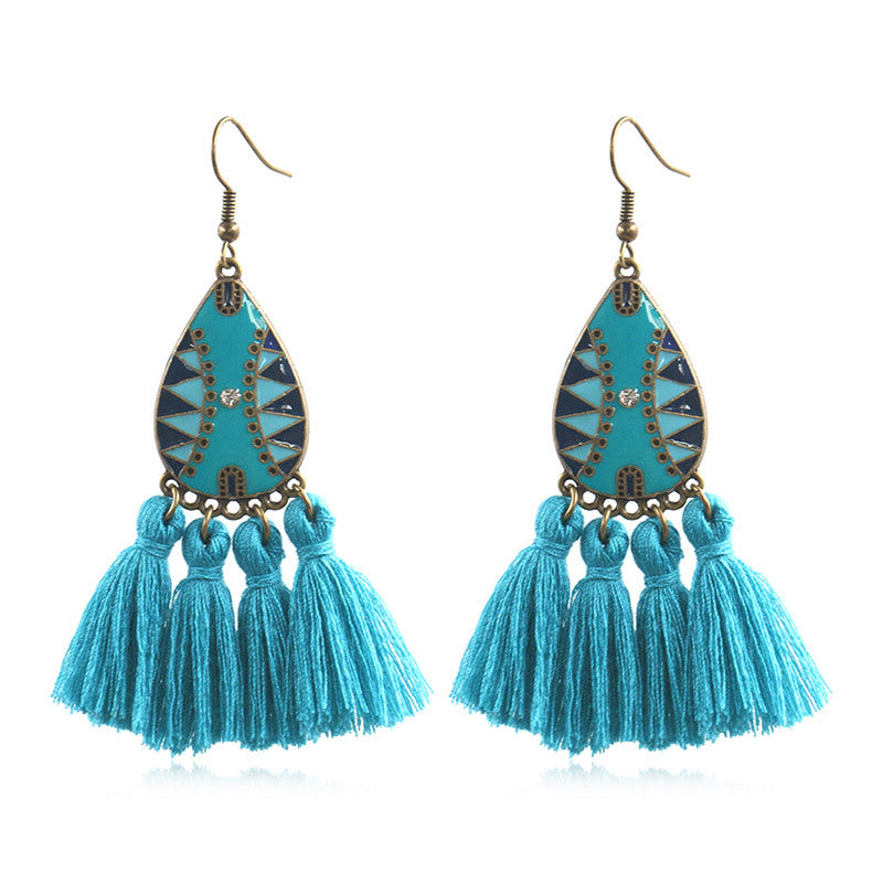 Retro exaggerated bohemian tassel earrings - Zebrant
