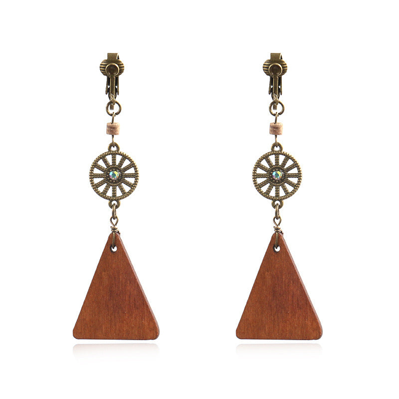 Round mesh simple wooden tassel earrings