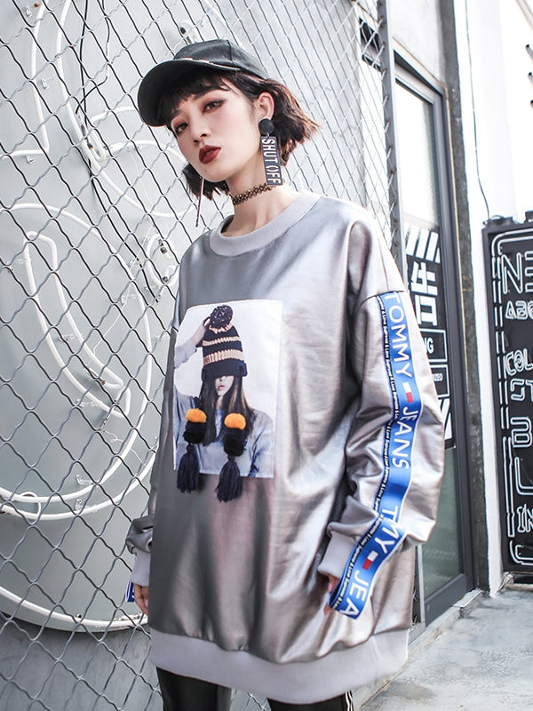 Loose Ribbon Printed Thicken Sweatshirt - Zebrant
