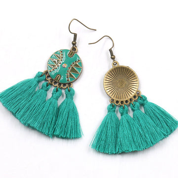 Green lady long tassel earrings fashion style Earrings Wholesale