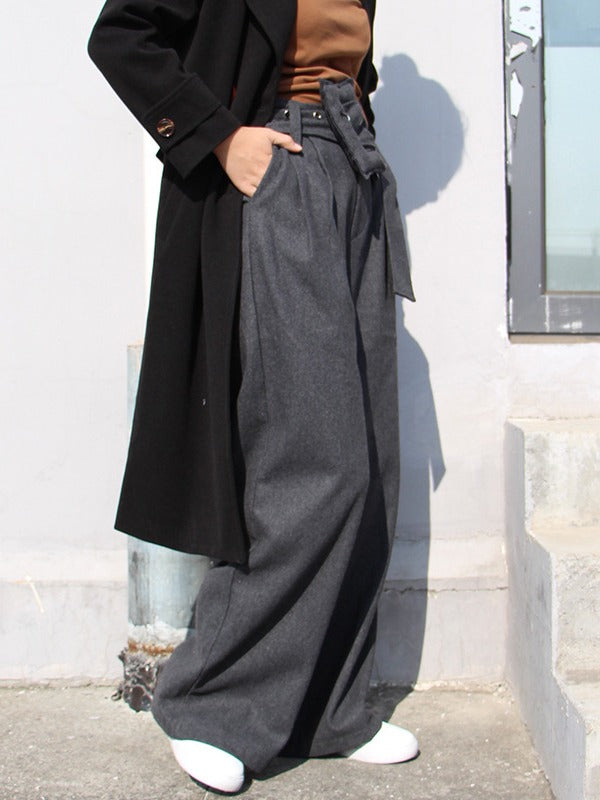 PERSONALITY BELT EMPIRE WOOLEN WIDE LEG PANTS - Zebrant