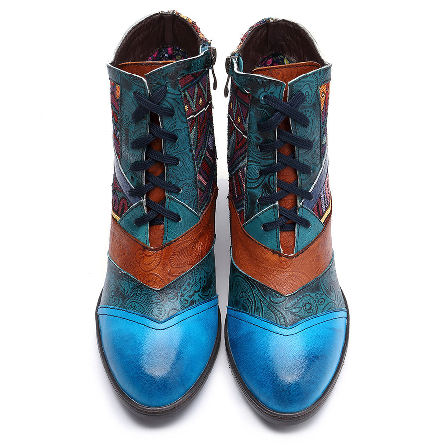 Stitching Jacquard Leather Boots - Zebrant