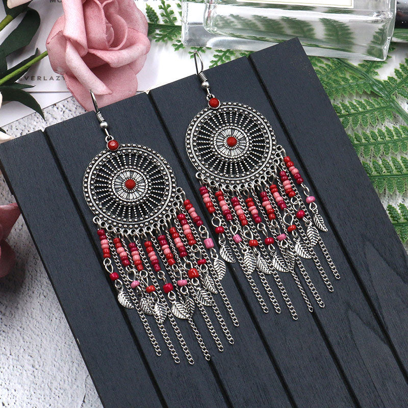 Big round hollow flowers alloy earrings