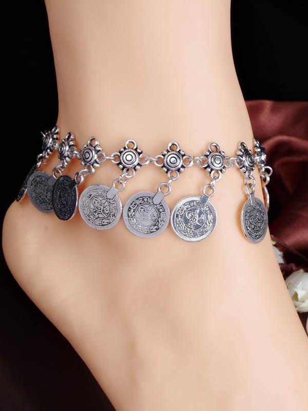 Fashion  Bohemia Retro Silver Carve Coin Pattern Tassels Footchain Accessories - Zebrant