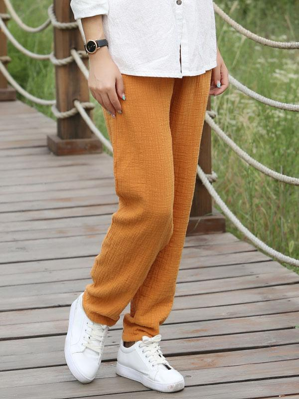 5 Colors Loose Ramie Cotton Casual Pants - Zebrant