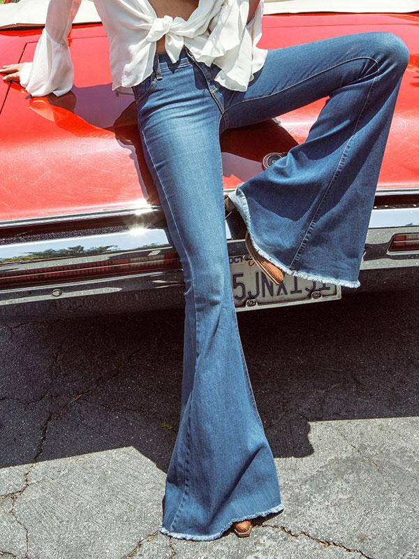 Fashion Elastic Bell-bottoms Jean Pants Bottoms - Zebrant