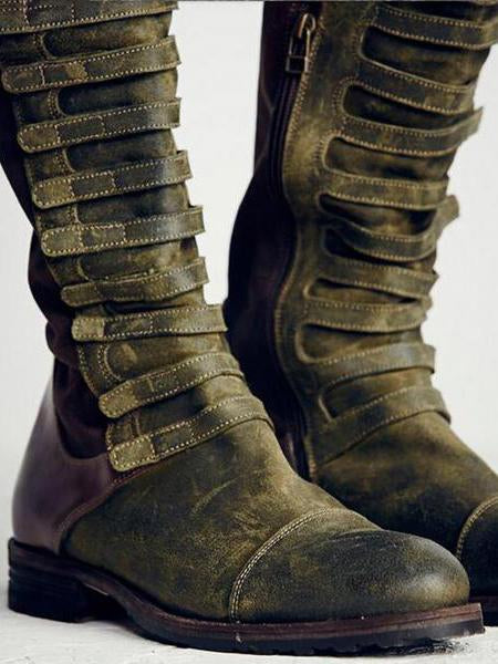 Punk Style Bandage High Boots Shoes in Army Green Color - Zebrant