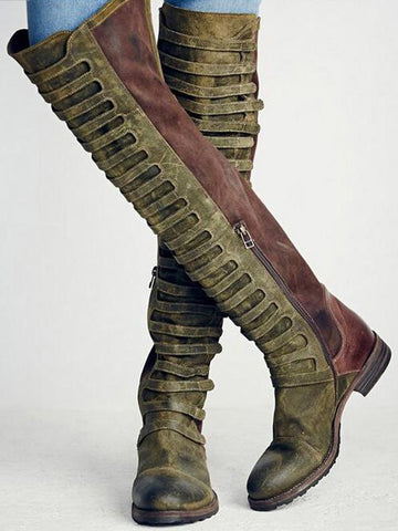 Punk Style Bandage High Boots Shoes in Army Green Color