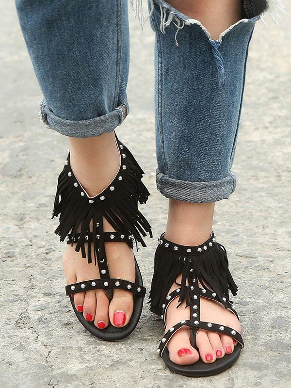 Suede Tassels Low-heel Shoes - Zebrant
