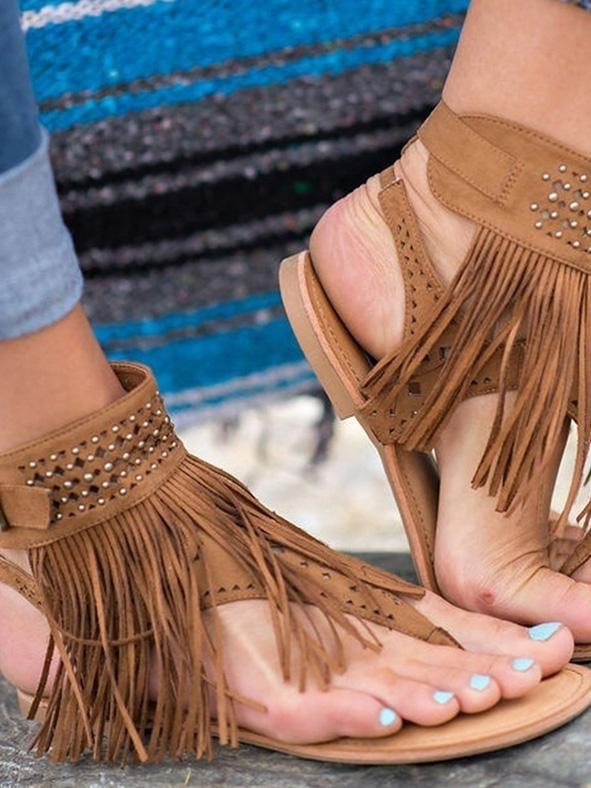 Tassels Flat Sandals Shoes - Zebrant
