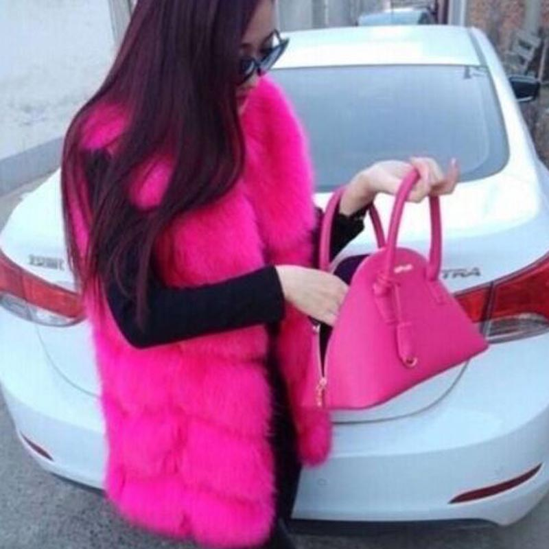 High quality Luxury Artificial Fur Warm Women Coat