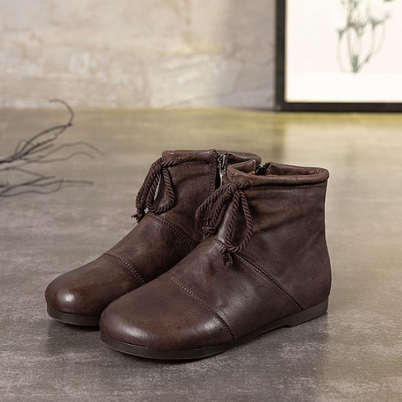 Vintage Lacing Zipper Low Heel Boots - Zebrant