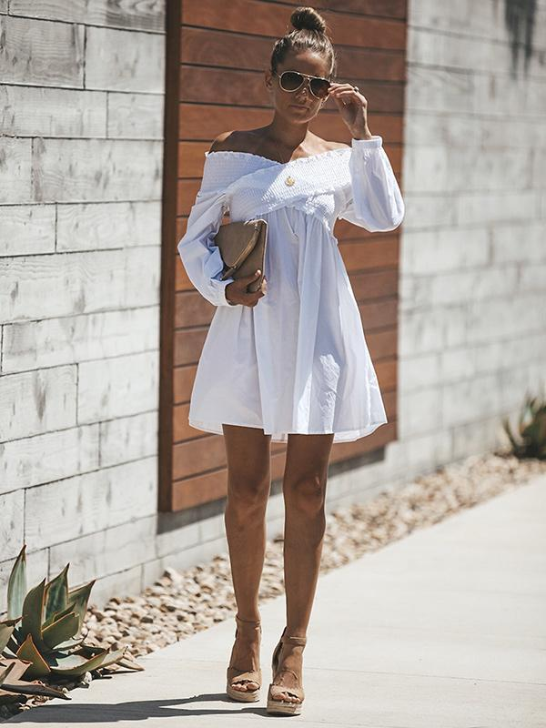 White Hollow Flared Sleeves Mini Dress
