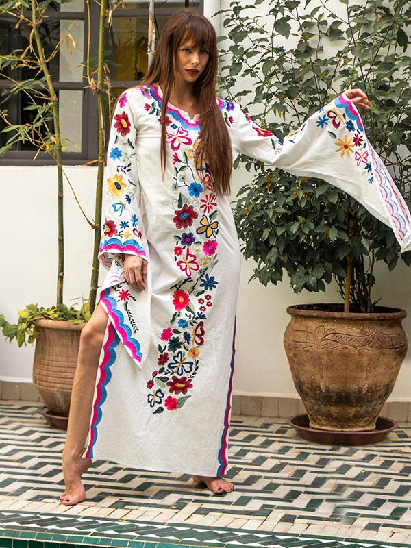 Pink Blue Fairy Sleeves Embroidered Maxi Dress - Zebrant