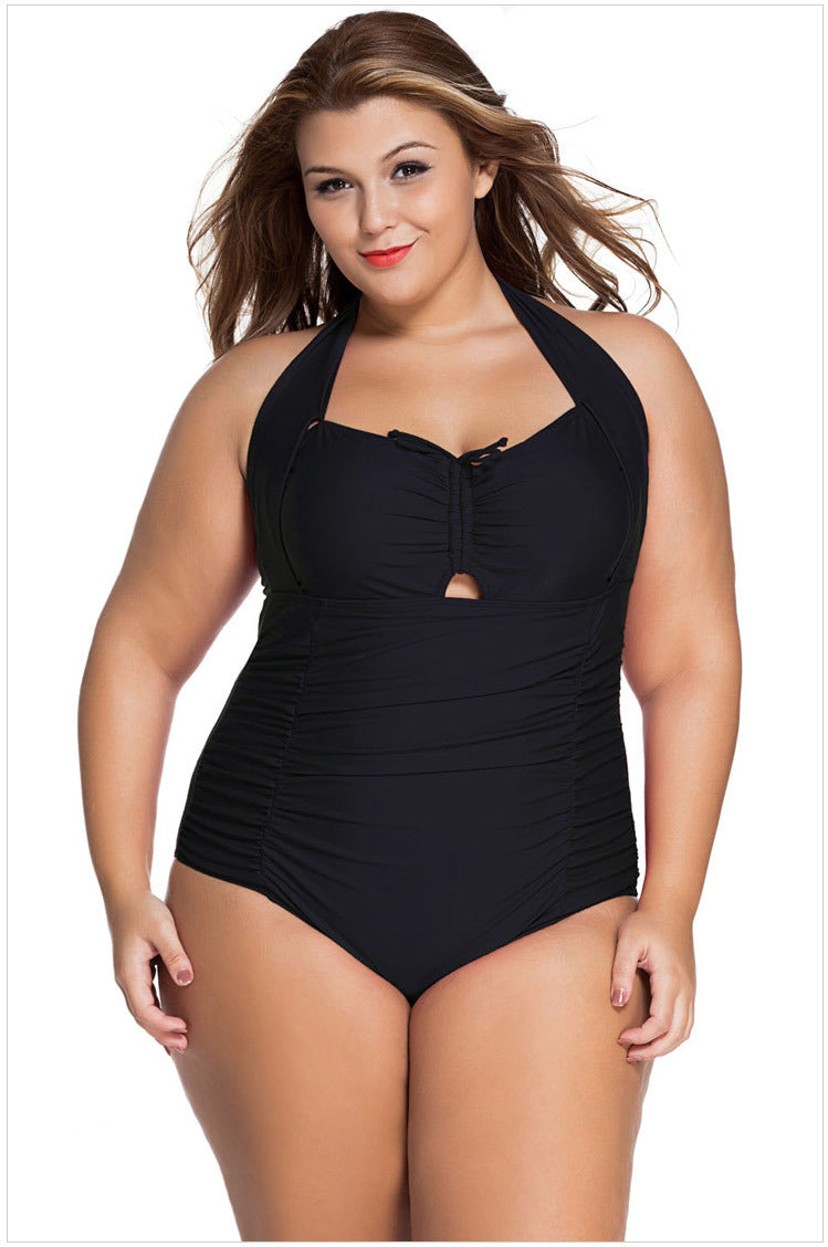 Hanging neck sexy gathered XL one-piece swimsuit