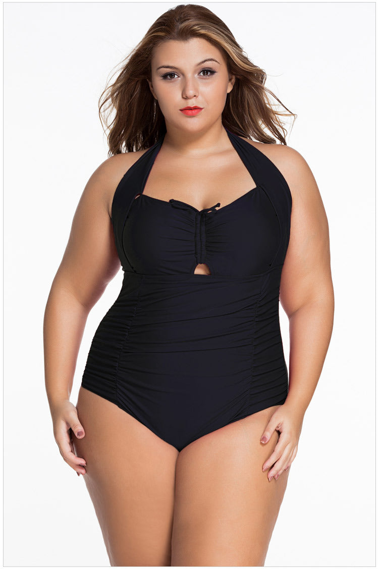 Hanging neck sexy gathered XL one-piece swimsuit - Zebrant