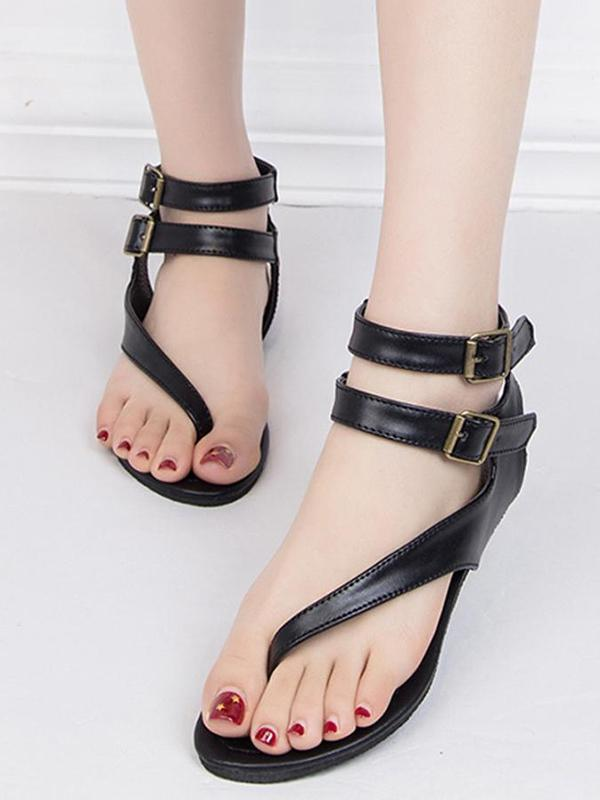 Simple Open Toe Flat Sandals Shoes - Zebrant