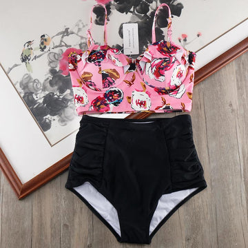 High Waist Bikini Set 2020 Biquini Plus Size Swimwear Women 3XL Print Swimsuit Bandage Bathing Swimming Suit Bikinis - Zebrant