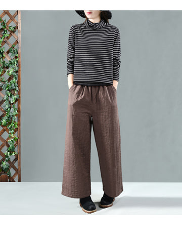 Original Warm Cotton-padded Wide Leg Pants - Zebrant