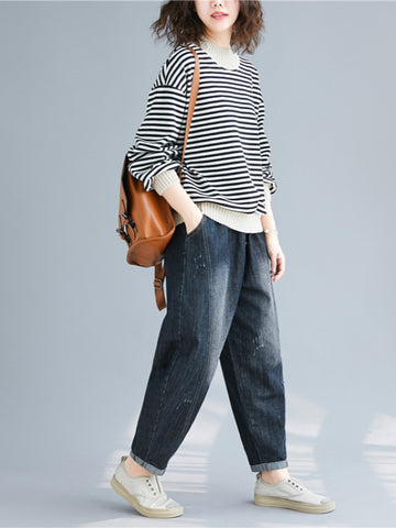 Casual Striped Split-joint Sweatshirt