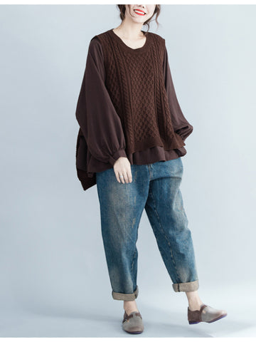 False Two Knitting Puff Sleeve Sweater - Zebrant