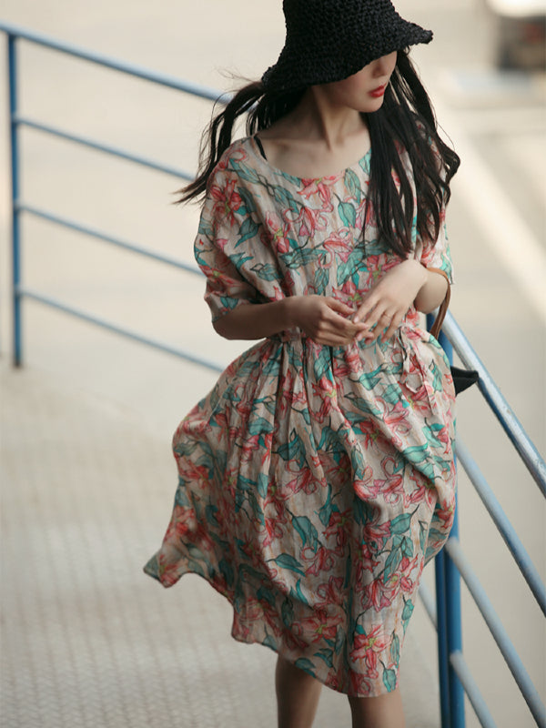 VINTAGE FLORAL PRINTED PLEATED SHORT DRESS - Zebrant
