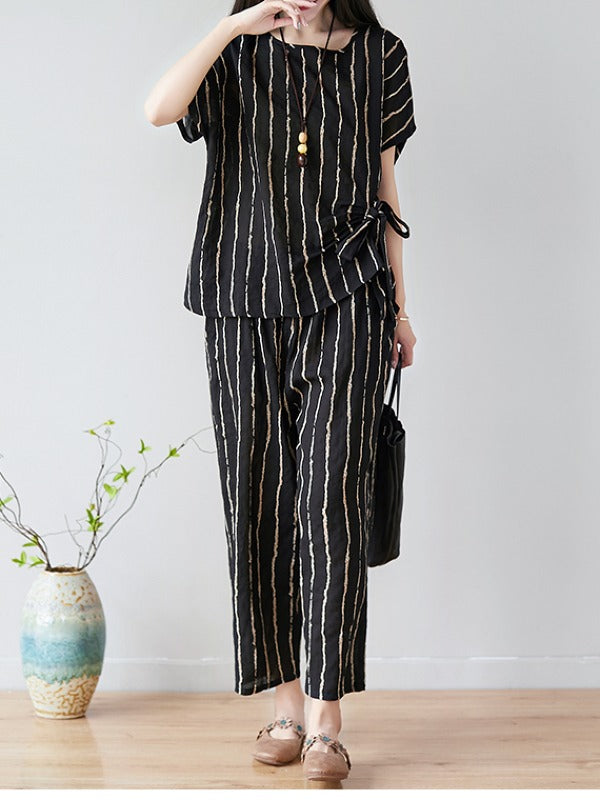 SUMMER NEW OVERSIZE STRIPED CASUAL PANTS SUIT - Zebrant