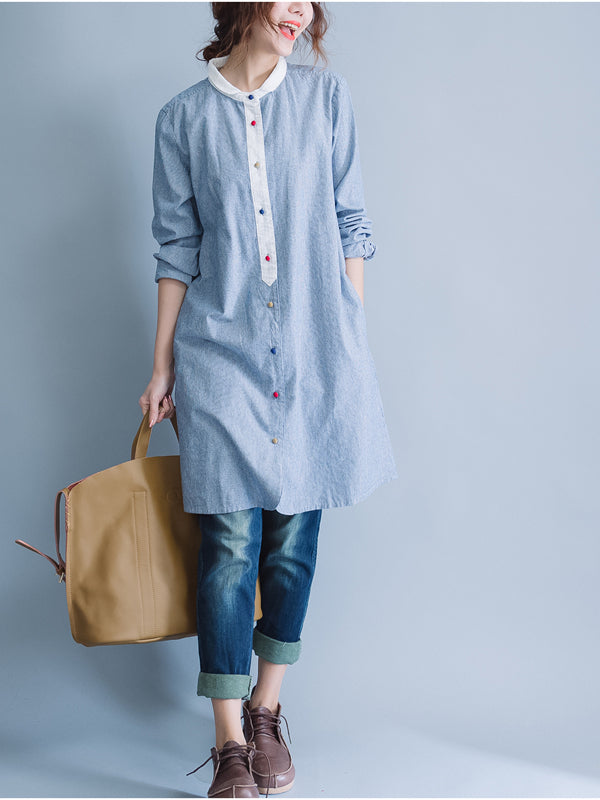 Casual Ramie Cotton Shirt Dress - Zebrant