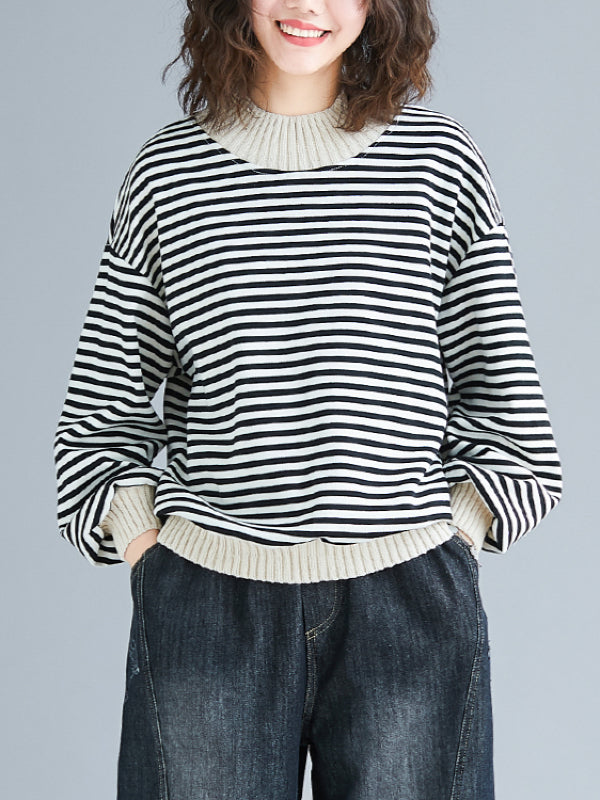 Casual Striped Split-joint Sweatshirt - Zebrant