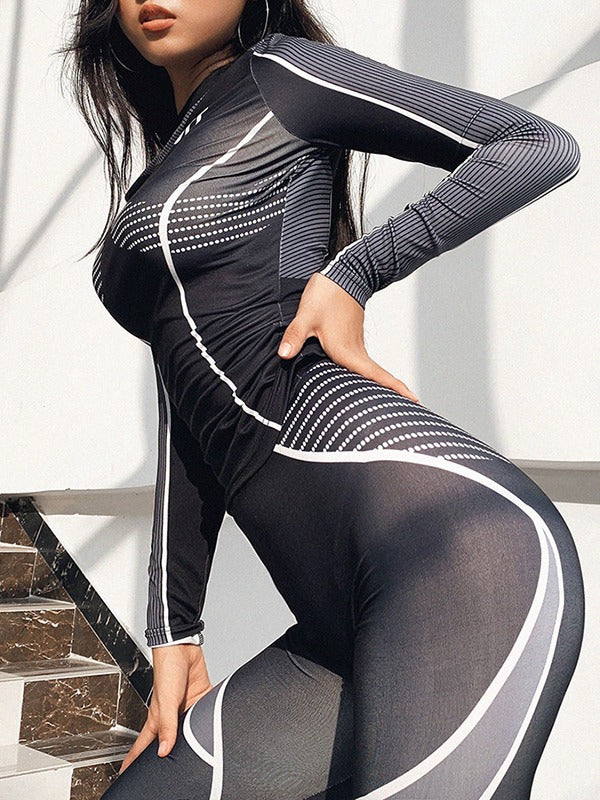 Round-Neck Printed Yoga&Gym Jumpsuits ACTIVE WEAR - Zebrant