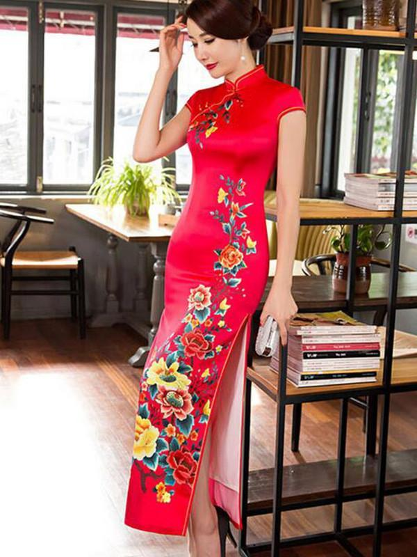 Traditional Cheongsam Long Dress with Open Sides, Two Colors