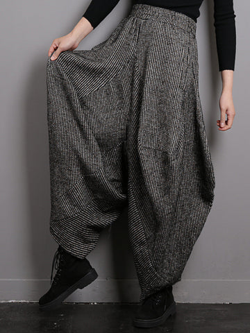 Vintage Knitted Thickening Asymmetric Lantern Wide Leg Pants - Zebrant
