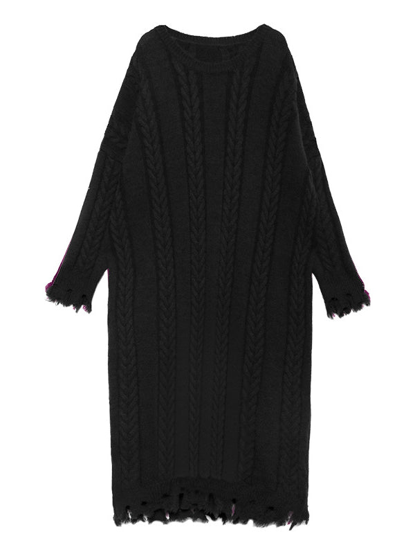 Loose Round-neck Fringed Knitting Sweater Dress - Zebrant