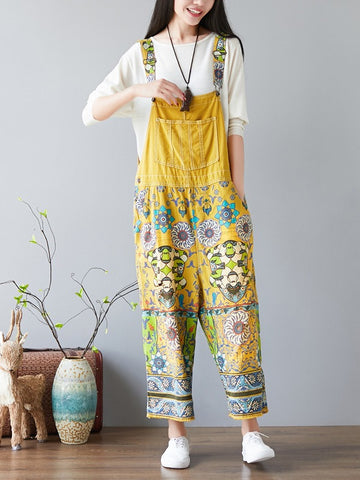 NATIONAL STYLE PRINTED LOOSE JEAN JUMPSUIT - Zebrant