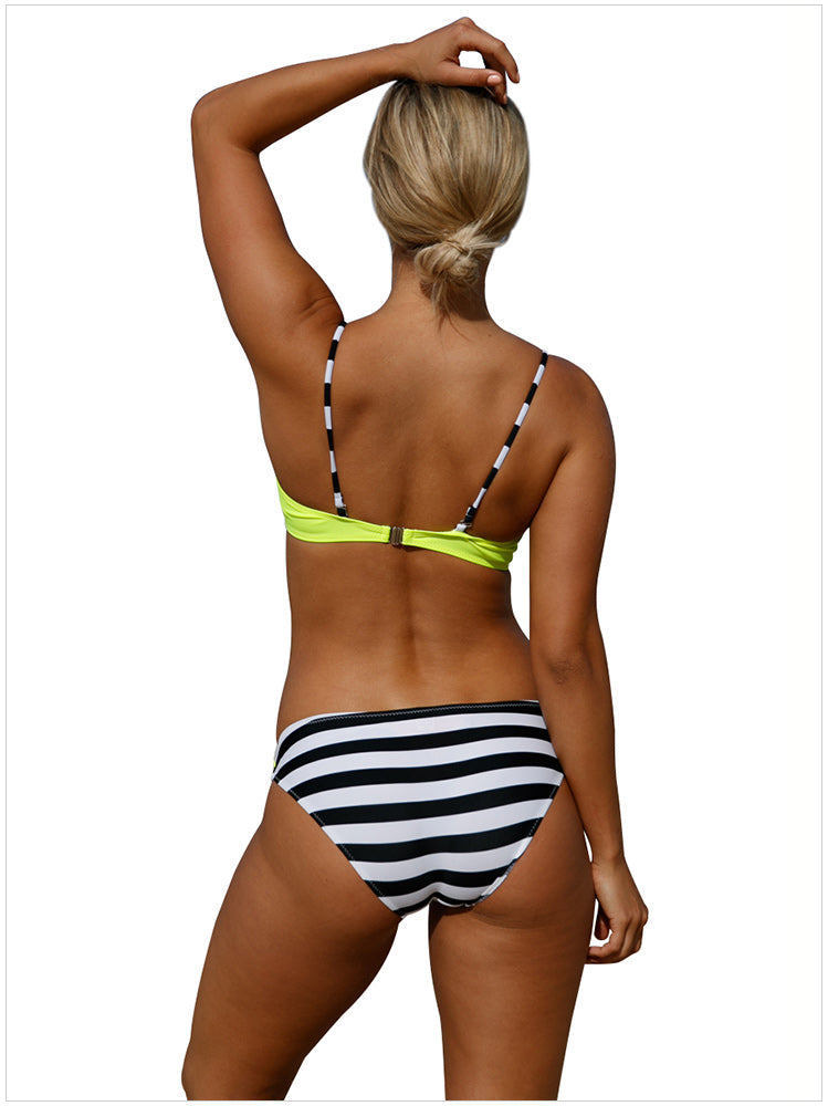 Fashion Print Stitching Sexy Cross Strap Bikini - Zebrant