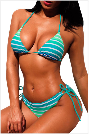 Striped Halter Neck With Low Waist And Tie Bikini - Zebrant