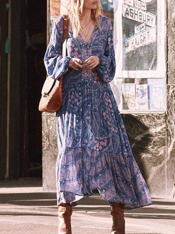 Printed V-neck Puff Sleeves Bohemia Maxi Dresses - Zebrant