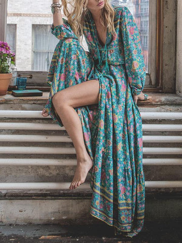 Floral Split-front Puff Sleeves Bohemia Maxi Dress - Zebrant