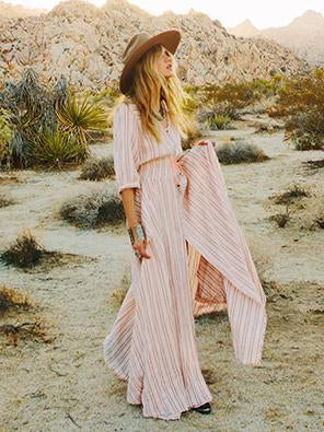 Pretty Striped V-neck 3/4 Sleeves Bohemia Maxi Dress