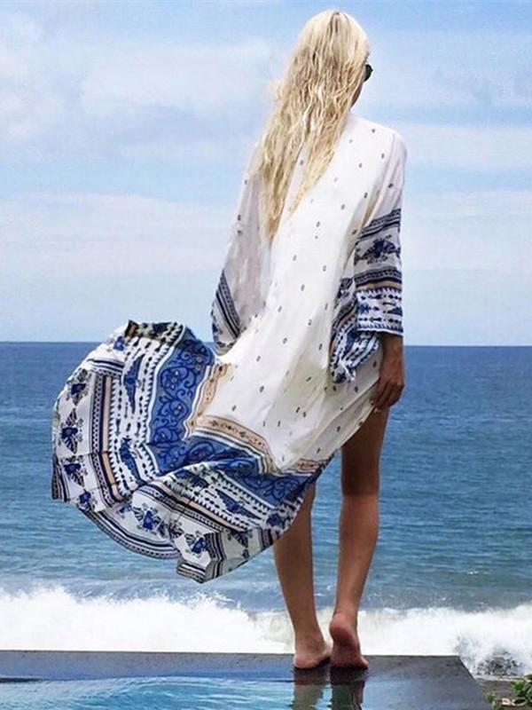 Trendy Transparent White Beach Cloak, Long Sleeves